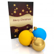 3d illustration: Christmas card and a group of Christmas balls — Stock Photo