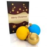 3d illustration: Christmas card and a group of Christmas balls — Stock Photo #12140097