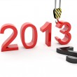 3d illustration of New Year 2013. Building a hook puts the figur — Stock Photo