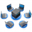 3d illustration internet technology. The group of servers and la — Stock Photo