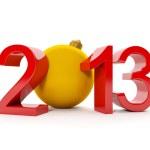 3d illustration: Christmas theme. Number 2013 and Christmas ball — Foto Stock