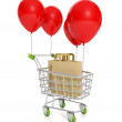 3d illustration: Concept for sale and purchase. Trolley balloon - Stock Photo