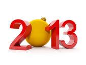 3d иллюстрация: рождественские темы. номер 2013 и рождественские шар — Стоковое фото