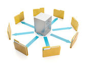 3d illustration, document storage. Storage boxes and folders to — Stock Photo