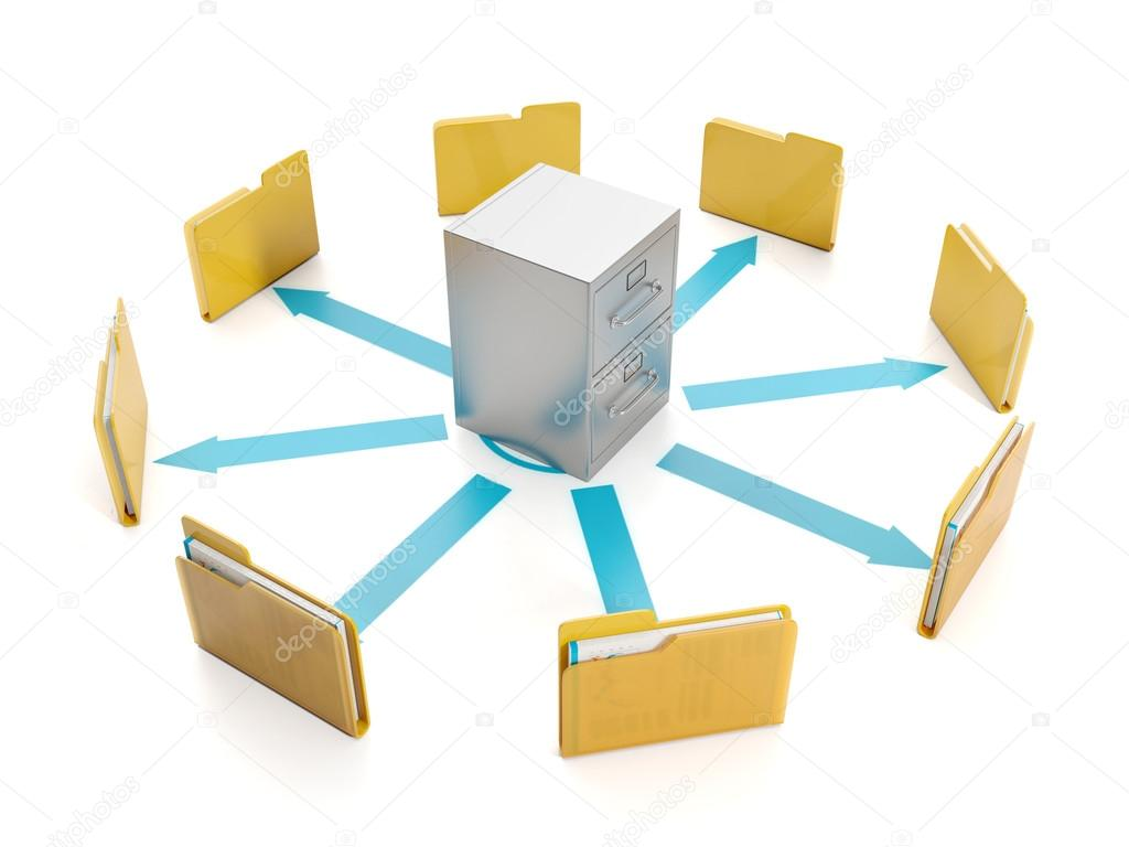 3d illustration, document storage. Storage boxes and folders to group round — Stock Photo #12398106
