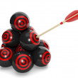 3d Illustration: Business concept. Group of balls with a target — Stock Photo #15320977