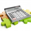 3d Illustration: Business ideas. Group puzzles and calculator - Stockfoto