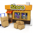 Stock Photo: 3d illustration: Sale and purchase. Delivery of goods to sto