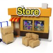 3d illustration: Sale and purchase. Delivery of goods to the sto — Stock Photo