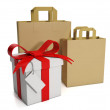 3d illustration: Shopping and prodazha.Gruppa paper bags and gif — Stock Photo