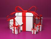 Cadeaux de groupe sur fond bordeaux. thème fête noël et — Photo