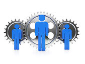 Business management. Three behind their backs gear, team — Stock Photo