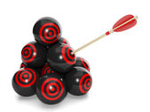 3d Illustration: Business concept. Group of balls with a target — Stock Photo