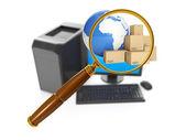 计算机技术的 3d 图。计算机和搜索 fo — 图库照片