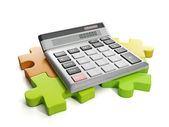 3d Illustration: Business ideas. Group puzzles and calculator — Stockfoto