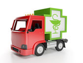 3d illustration: Truck and medicine. Delivery of medical supplie — Stock Photo