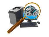 计算机技术的 3d 图。一组计算机的骗局 — 图库照片