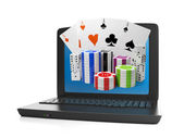 3d illustration of computer technology. A laptop and a group of — Stock Photo