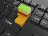 Illustrazione 3d delle tecnologie informatiche. gruppo libri e keyboa — Foto Stock