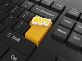 Illustrazione 3d delle tecnologie informatiche. tastiera, con compro. — Foto Stock