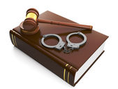 3d illustration: Legal assistance. Judicial gavel and law book, — Stock Photo