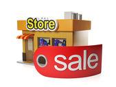 3d Иллюстрация: продажа и покупка. продажа магазина и лейбл, празд — Стоковое фото