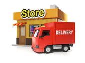 3d illustration: Shop and delivery. Free delivery from store — Stok fotoğraf