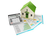 3d illustration: Houses. Toy house and documentation with a calc — Stock Photo