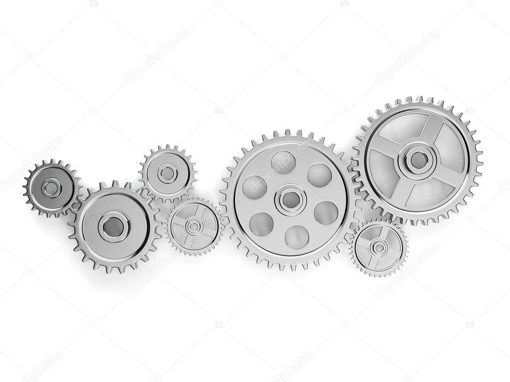 3d illustration: the mechanism. Group gears in working order — Stock Photo #15321051