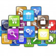 Stock Photo: Group of mobile applications in form of icons drawn in c