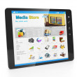 Stock Photo: Store mediapplications. Tablet PC with open webpage copper