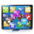 Download mobile app for your aypad. Icons in the form of mobile — Stock Photo