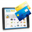 Stock Photo: Tablet PC, payment for goods in medistore. Tablet computer