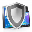Stock Photo: Protecting mobile devices from hacking and viruses. group of