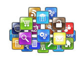 Group of mobile applications in the form of icons drawn in the c — Stock Photo