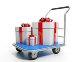 Send gifts. Group gifts are on the trolley — Stock Photo