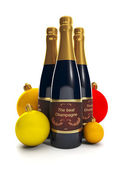 3d Illustration: A group of three bottles of champagne. — Foto de Stock