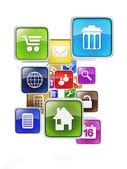 Mobile gruppe von symbolen auf einem weißen hintergrund. erstellen von mobile app — Stockfoto