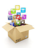 Cardboard box Box and mobile cloud icons. Create mobile OFFER fo — Fotografia Stock