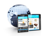 Mobile phone of electronics. Earth model tablet computer and mob — Stock Photo