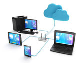 Wi fi network of electronic devices. Group of mobile ustroyv con — Fotografia Stock