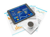 Illustration on the theme of business. Tablet PC biznres site, a — Stock Photo