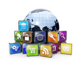 Download mobile OFFER from the Internet. Icons mobile applicatio — Stock Photo