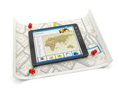 Online maps of various cities. Tablet PC with a site map and a m — Stock Photo
