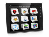 Tablet PC with a gallery of images. Tablet closeup view gallery — Stock Photo