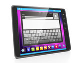 Communication in social networks via tablet. Tablet computer clo — Stock Photo