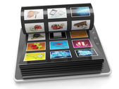 Image Gallery of the Tablet PC. Tablet PC sheets with images — Stock Photo