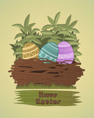 Easter eggs. Group of colored Easter eggs lie in a nest woven of — Stock Vector