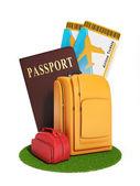 Znamení výletu. Obrázek skupiny kufry a letadlo klíště — Stock fotografie