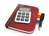 Graphic representation of a notepad and calculator. Notebook wit — Stock Photo
